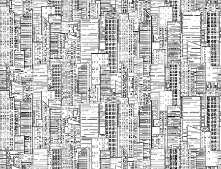 Seamless black and white texture with contours of the city's skyscrapers and houses for backgrounds and your design