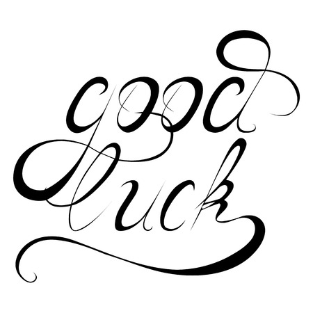 good luck charm: Wishing Good Luck written hand-drawn calligraphy. Vector design element for your creativity Illustration