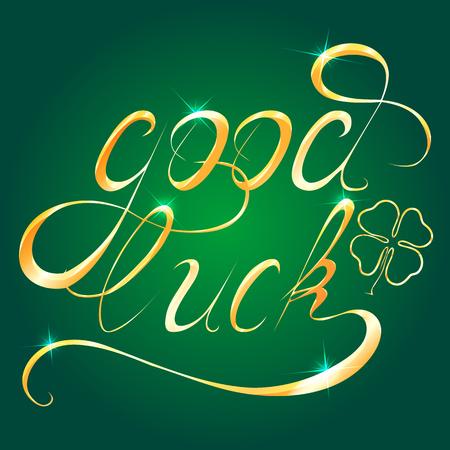 """Golden """"Good Luck"""" geschreven met de hand getekende kalligrafie. Vector design element voor uw creativiteit"""