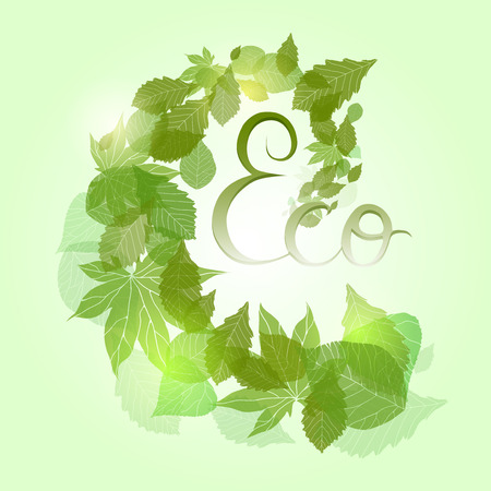 Whirlpool with green leaves, sparkles and with hand drawn calligraphy for banners, frames and your design