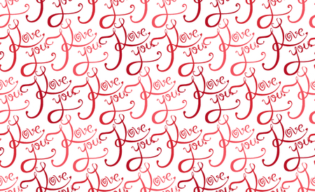 fondness: Seamless texture with calligraphic inscription I love you on a white background for your creativity
