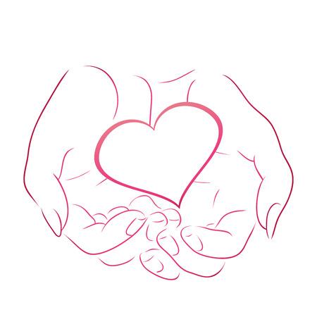 Contour pink heart in women contour hands for your design Illustration