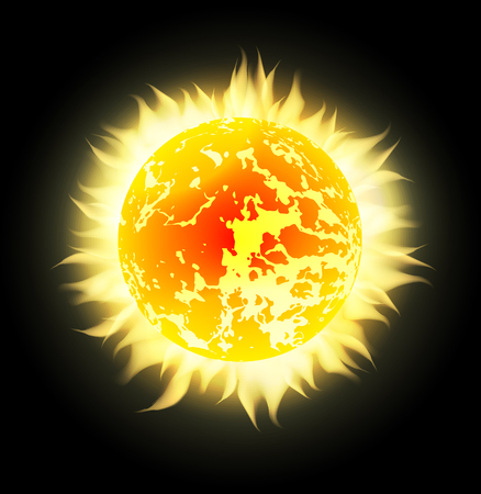 flaring: Vector sun with rays in space. Design element for your creativity Illustration