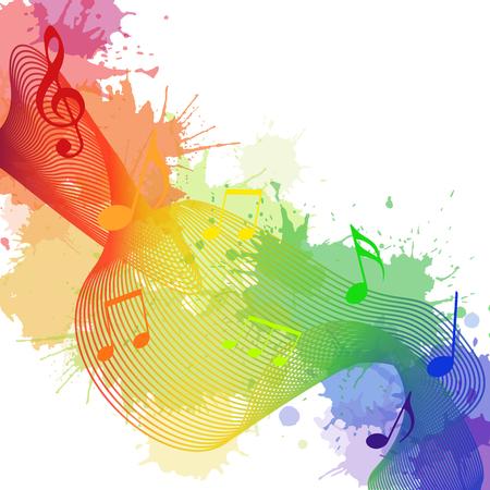 당신의 창의력을위한 무지개 음악 노트, 파도와 수채화 밝아진 그림 일러스트