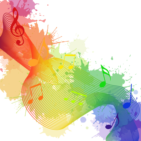 Illustration with rainbow musical notes, waves and watercolor splashes for your creativity