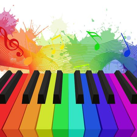 Ejemplo de las llaves del piano de colores del arco iris, notas musicales y las salpicaduras de la acuarela. elemento para su diseño