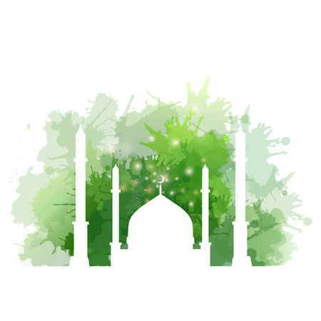 ramadan kareem: Illustration of Muslim mosque with watercolor splashes. element for your creativity