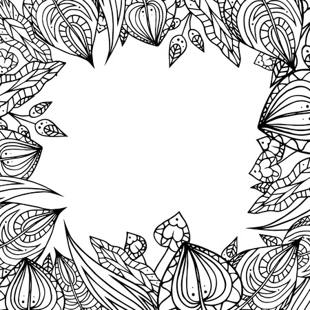 etnic: Frame of black and white doodle leaves with pattern. element for your design.
