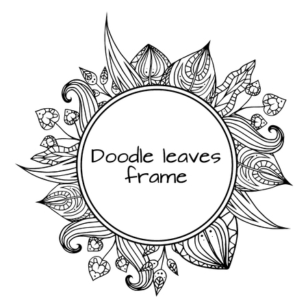 etnic: Round frame of black and white doodle leaves with pattern. element for your design.