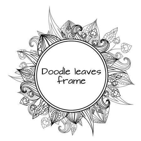 Rond kader van zwart-witte krabbelbladeren met patroon. element voor uw ontwerp.