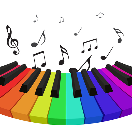 practice primary: Illustration of rainbow colored piano keys with musical notes. Vector element for your design Illustration