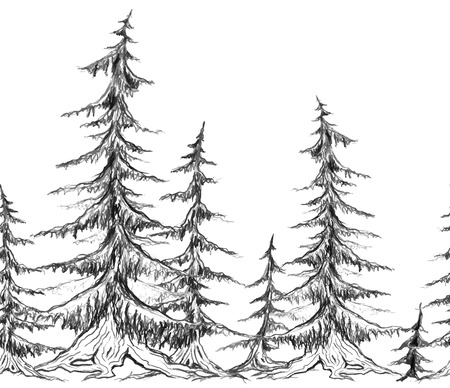 Seamless border with pencil sketch trees. Vector element for frames, scrapbooking, and for your design