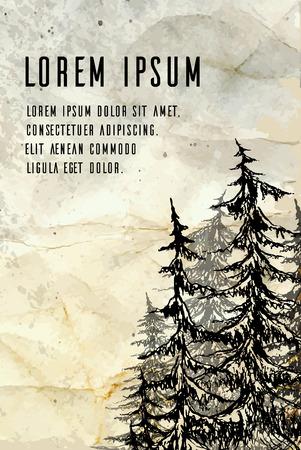 arbol de pino: Tarjeta de la vendimia con un árboles bosquejo del lápiz, papel arrugado y el lugar de texto. vector de los elementos folletos, álbum de recortes, tarjetas para su diseño