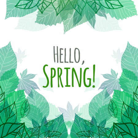 green leafs: Spring vector card with doodle and green leaves for postcard, flyers, brochures and your business Illustration