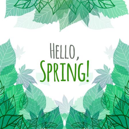 Tarjeta del resorte del vector con las hojas verdes del doodle y para tarjetas postales, volantes, folletos y su empresa