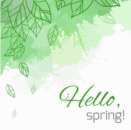 はがき、チラシ、パンフレット、お客様のビジネスの落書きの葉と緑の塊春ベクトル カード