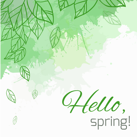 Spring vector card with doodle leaves and green blobs for postcard, flyers, brochures and your business