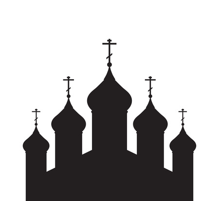 monasteries: Vector illustration with a silhouette of the Orthodox Church for infographics, greeting cards, invitations, and your design