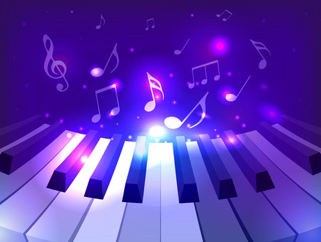 Vector illustration of piano keys, notes and sparkles for your design Stock Illustratie