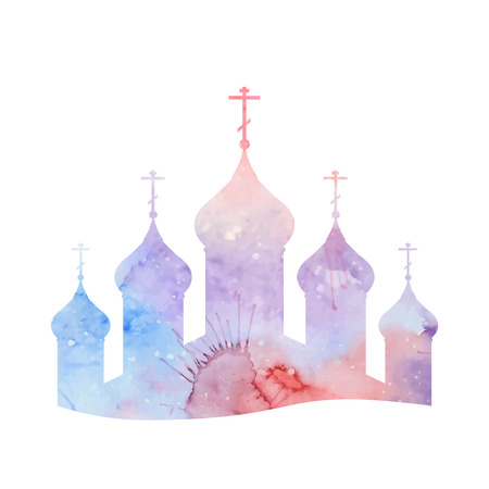 church worship: Vector illustration with a silhouette of the Orthodox Church with watercolor background for infographics, greeting cards, invitations, and your design