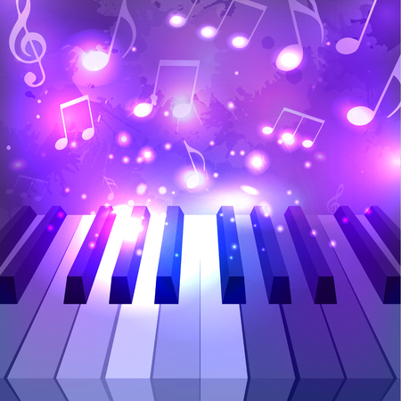 pianoforte: Vector illustration of piano keys, notes and sparkles for your design Illustration
