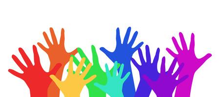 あなたの創造性のための虹の子供の手でイラスト