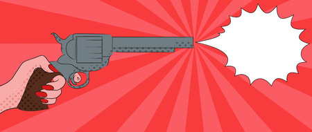 gunfire: Pop art illustration with  female hand with a gun with bubble shot for your creativity