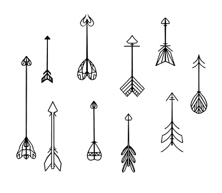 arrow icon: Set of black and white boho arrows. Vector elements for websites, invitations, scrapbooking and your design