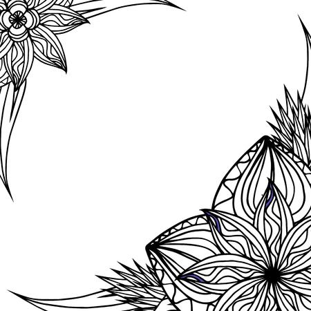 indische muster: Platz schwarzen und weißen Rahmen mit Doodle Blättern und Blüten. Vector Element für Einladungen, Grußkarten, Karten und Ihr Design