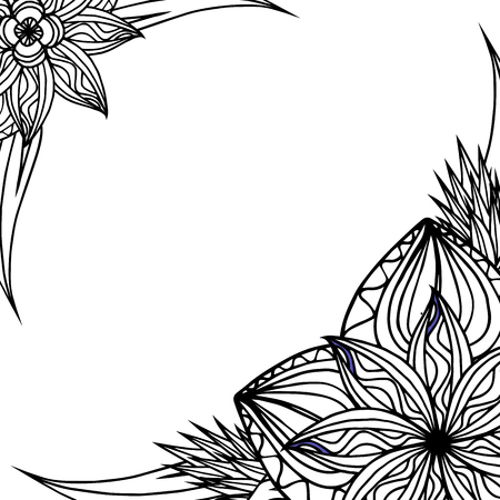 sketch pattern: Square black and white frame with doodle leaves and flowers. Vector element for invitations, greeting cards, cards, and your design