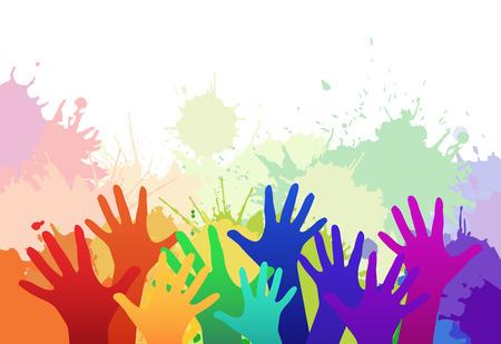 escuela infantil: las manos de los niños multicolores del arco iris en el fondo de las salpicaduras de la acuarela. vector de los elementos de su creatividad