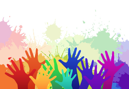 Multicolored rainbow children's hands on background of watercolor splashes. Vector element for your creativity