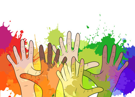 Variety of human hands on background of watercolor splashes. Vector element for your creativity