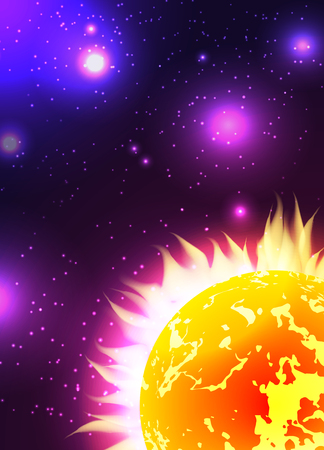 flaring: Illustration of the sun with rays in space with stars. Vector background for your creativity