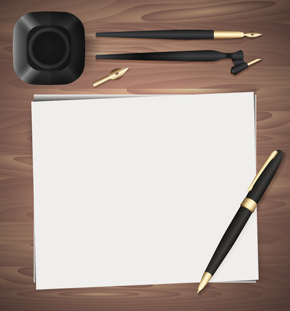 school kit: Set of stationery on wooden background. Vector elements separately from the background to your presentation, design projects and your creativity