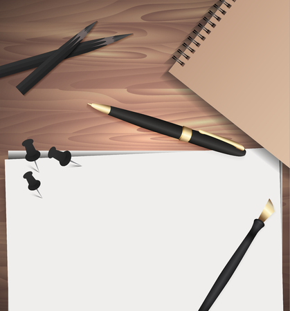 corrector: Set of stationery on wooden background. Vector elements separately from the background to your presentation, design projects and your creativity