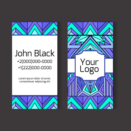 ethno: Template two-sided business card with ethno pattern for your design