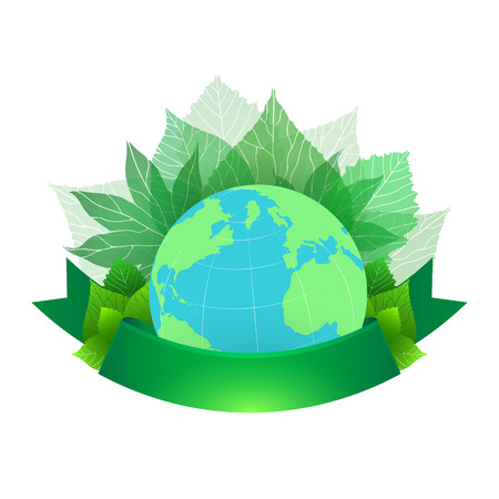 health and wellness: illustration of planet Earth with leaves and green ribbon for text.