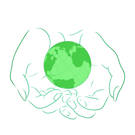 female hands: illustration with the outline of female hands with planet Earth.