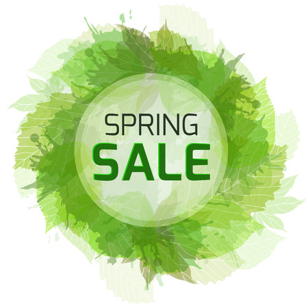 spring sale: Round banner for the spring sale with green  leaves. Vector element for your design