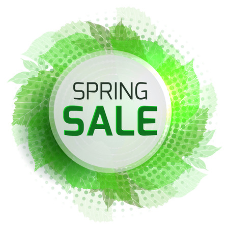 spring sale: Round banner for the spring sale with green  leaves and halftone. Vector element for your design Illustration