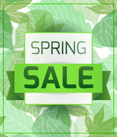 spring sale: Banner for the spring sale with green  leaves. Vector element for your design