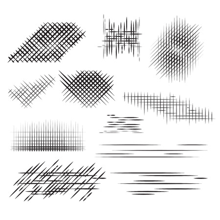 cross hatching: Set pencil strokes, halftone, engraving. Vector element for your design