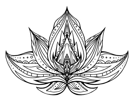centers: Outline Lotus with boho pattern. Vector element for spa centers, yoga studios. Hand drawn. Doodle elements for your design. Coloring for adults