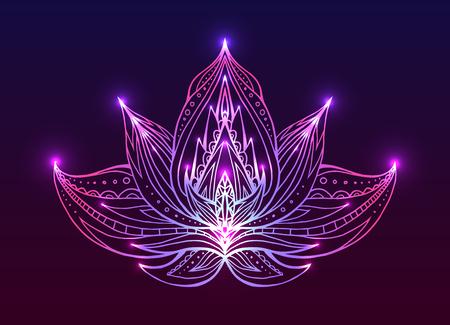 Outline Lotus met boho patroon en heldere vonk. Vector element voor spa-centra, yoga studio's. Hand getekend. Doodle elementen voor uw ontwerp