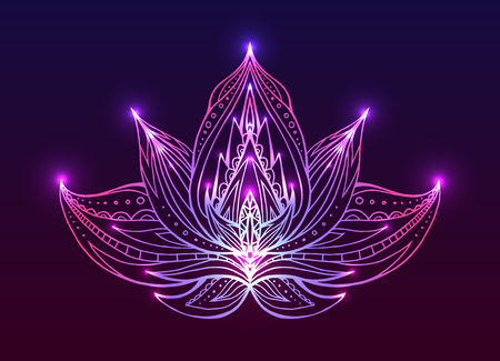 graphic drawing: Outline Lotus with boho pattern and bright spark. Vector element for spa centers, yoga studios. Hand drawn. Doodle elements for your design