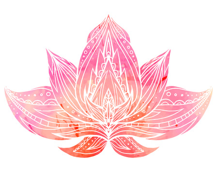 Color Lotus with boho pattern and watercolor background. Vector element for spa centers, yoga studios. Hand drawn. Doodle elements for your design