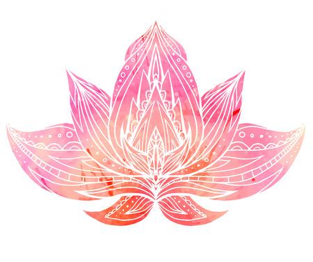 Lotus de couleur avec motif boho et fond aquarelle. Élément de vecteur pour les centres de spa, studios de yoga. Dessiné à la main. Éléments de Doodle pour votre conception Vecteurs