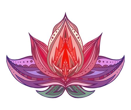 Farbe Lotus mit Boho-Muster. Vector Element für Spa-Zentren, Yoga-Studios. Handgemalt. Doodle Elemente für Ihr Design Standard-Bild - 54332252