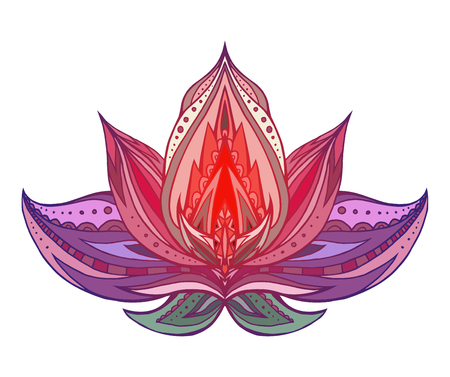 Color Lotus with boho pattern. Vector element for spa centers, yoga studios. Hand drawn. Doodle elements for your design